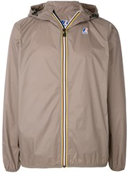 K Way Contrast Zip Jacket Brown