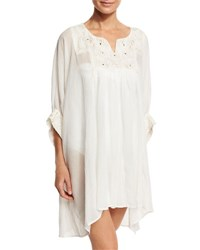 Flora Bella Escape Embroidered Tunic Coverup White