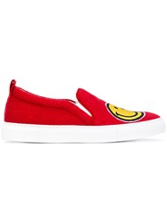 Joshua Sanders Smiley Face Slip On Sneakers Women Cotton Leather Rubber 37 Red