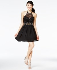 B. Darlin B Juniors' Cutout Illusion Fit And Flare Dress A Macy's Exclusive Style Black Silver