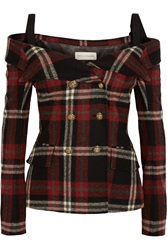 Faith Connexion Off The Shoulder Tartan Wool Jacket