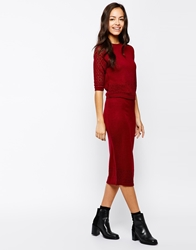 Girls On Film Pointelle Knit Pencil Skirt Berry