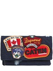 Dsquared Denim Fold Over Clutch W Patches