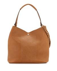 Neiman Marcus Sophia Studded Faux Leather Hobo Bag Vachetta