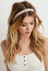 Forever 21 Braided Floral Print Headwrap Cream Multi