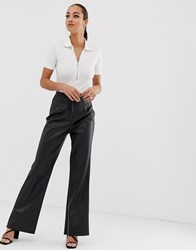 Missguided Wide Leg Trousers In Black Faux Leather