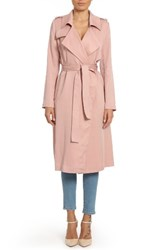 Badgley Mischka Women's Faux Leather Trim Long Trench Coat Lip Kit