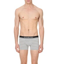 Zegna Striped Jersey Trunks Grey White