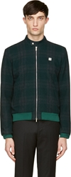 Richard Nicoll Dark Green Plaid Wool Bomber Jacket