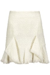 Goen J Ruffled Metallic Boucle Tweed Mini Skirt Ivory