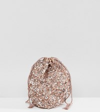 Maya Allover Sequin Oversized Coin Purse Taupe Blush Brown