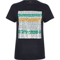 River Island Womens Navy Sequin Print Fitted T Shirt