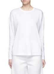 Vince Pima Cotton Jersey Long Sleeve T Shirt White