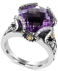Effy Viola By Amethyst 8 3 4 Ct. T.W. And Diamond Accent Statement Ring In Sterling Silver And 18K Gold Two Tone