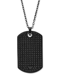 Emporio Armani Men's Gunmetal Tone Black Leather Dog Tag Pendant Necklace Egs1986 Silver