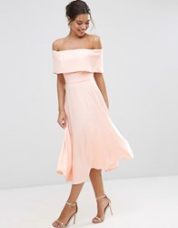 Asos Soft Off The Shoulder Bardot Midi Prom Dress Nude Pink