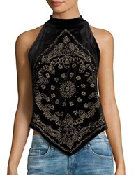 Free People Halter Embroidered Handkerchief Top Black