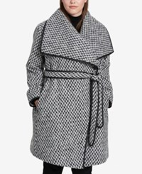 Dkny Plus Size Faux Leather Trim Belted Wrap Coat Black White