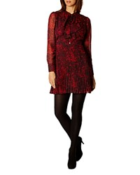 Karen Millen Leopard Print Shirt Dress Red Multi
