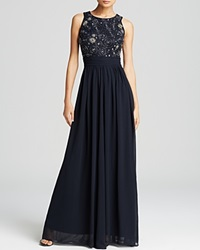 Js Collections Gown Beaded Bodice Chiffon Skirt Navy Gun