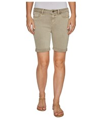 Liverpool Corine Rolled Cuff Walking Shorts In Pigment Dyed Stretch Slub Twill In Pure Cashmere Pure Cashmere Women's Shorts Gray