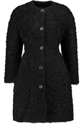 Giambattista Valli Mohair Cotton And Wool Blend Boucle Coat Black