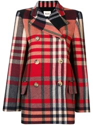 Khaite Short Double Breasted Coat Red