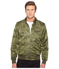 Members Only Iconic Jacquard Racer Jacket Olive Men's Coat