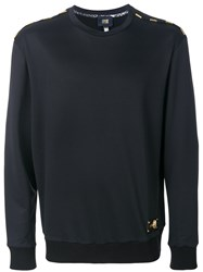 Class Roberto Cavalli Embellished Shoulder Detail Sweatshirt Black