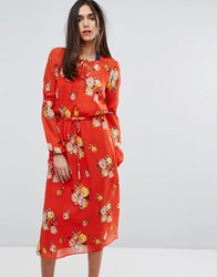 Warehouse Floral Tie Waist Midi Dress Multi