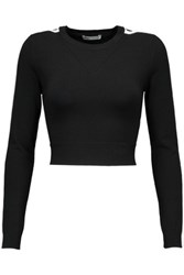 Opening Ceremony Cropped Cutout Knitted Top Black