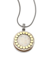 John Hardy Dot Buffalo Horn 18K Yellow Gold And Sterling Silver Large Locket Necklace Silver Gold