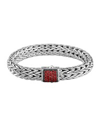 Classic Chain 11Mm Large Braided Silver Bracelet Red Sapphire John Hardy