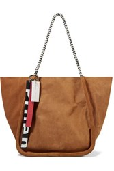 Proenza Schouler Large Leather Trimmed Suede Corduroy Tote Tan