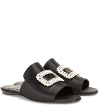 Roger Vivier Pilgrim Satin Sandals Black