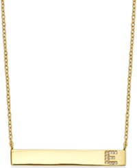 Studio Silver Bar Necklace With Cubic Zirconia Initial In 18K Gold Over Sterling Silver Gold E