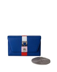 Akris Anouk Superstripe Patchwork Envelope Shoulder Bag Bright Blue