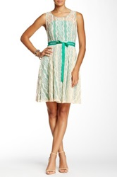 Ryu Embroidered Mesh Sleeveless Dress Green