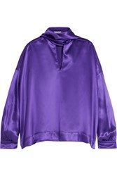 Balenciaga Pussy Bow Silk Satin Blouse Purple
