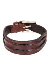 John Varvatos Detail Leather Cuff Bracelet Brown