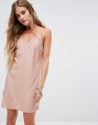 Kiss The Sky Cami Slip Dress With Rose Choker Detail Nude Beige