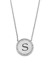 Zoe Chicco Personalized Pave Diamond Disc Initial Necklace White Gold