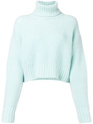 Each X Other Fluffy Cropped Turtleneck Sweater Blue