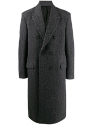 Acne Studios Herringbone Double Breasted Coat Grey