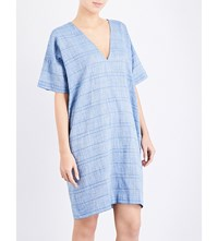 The Sleep Shirt Striped Cotton Kaftan Nightshirt Chain Stich Blue