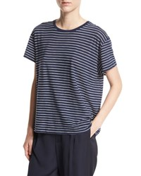 Vince Striped Relaxed Fit Pima Tee Blue White