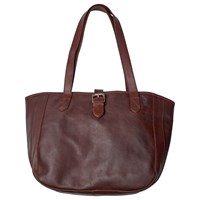 Fat Face Small Buckle Oiled Leather Tote Bag Chocolate