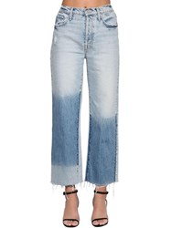 Mother The Rambler Frayed Ankle Jeans Light Blue