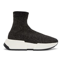 Maison Martin Margiela Mm6 Black Glitter Sock High Top Sneakers