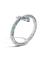 John Hardy Classic Chain Cobra Sterling Silver Lava Kick Cuff With London Blue Topaz Blue Topaz White Sapphire And Diamond On Eyes